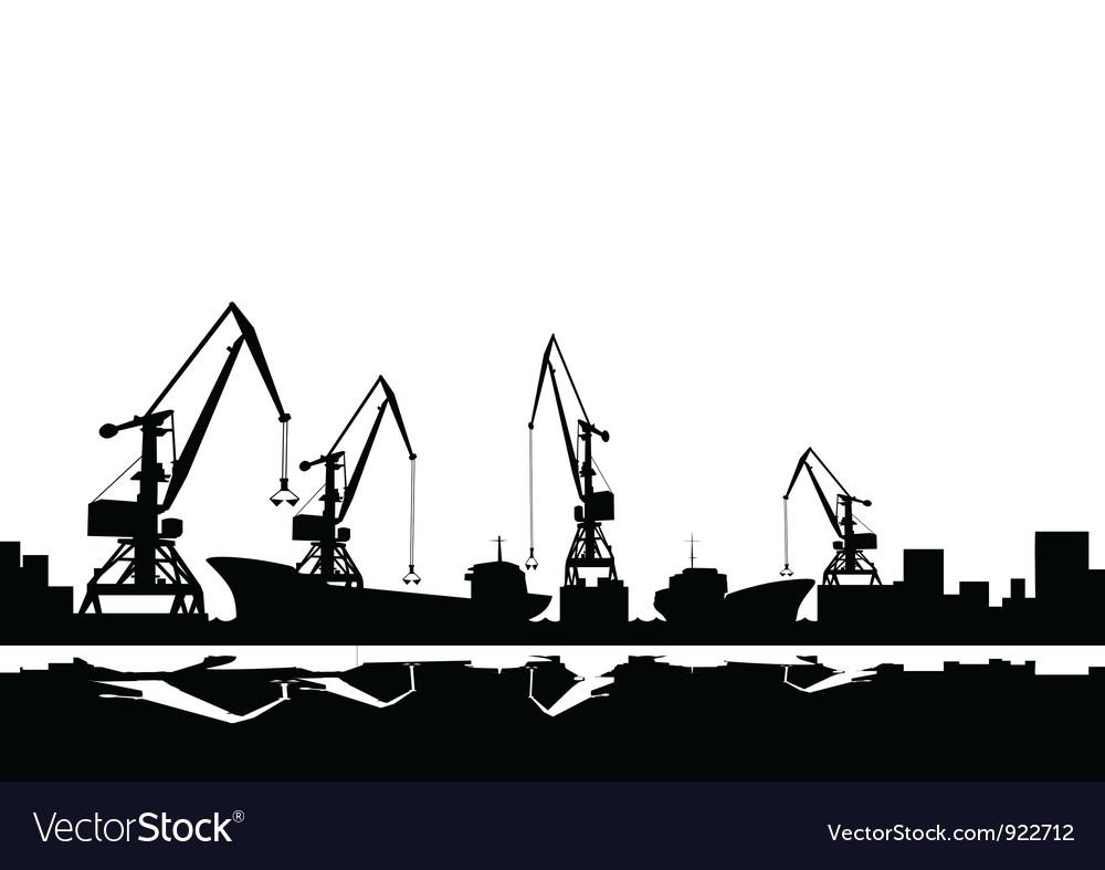 Port cranes and ships vector