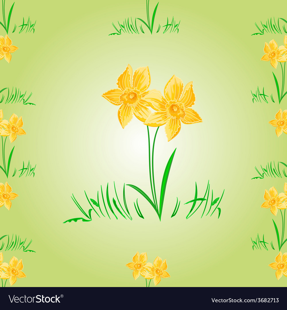 Daffodil easter flower seamless texture easter vector
