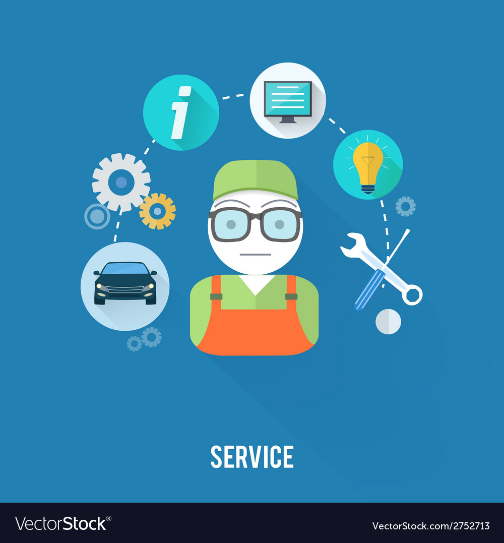 Service master concept with item icons vector