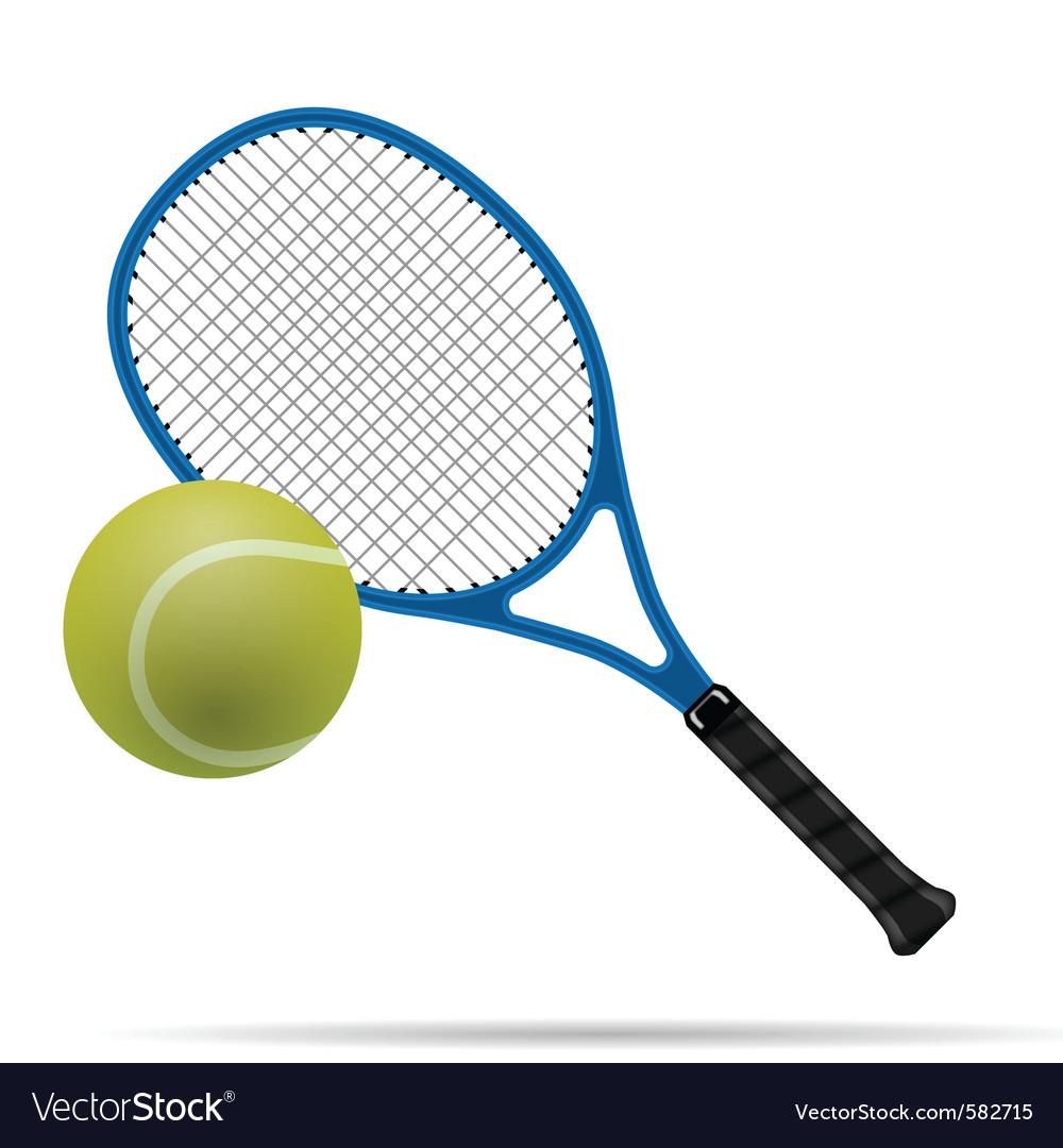 Racket and tennis ball vector