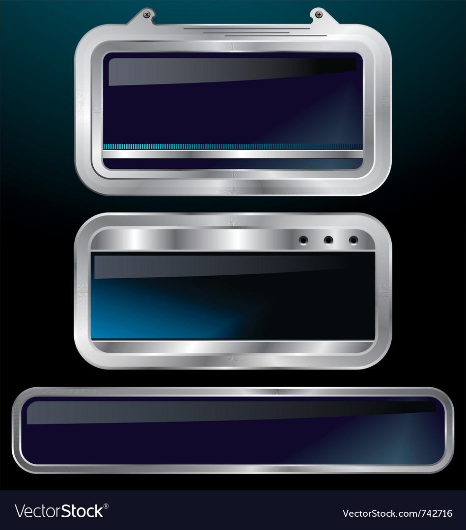 A set of chrome metallic labels vector