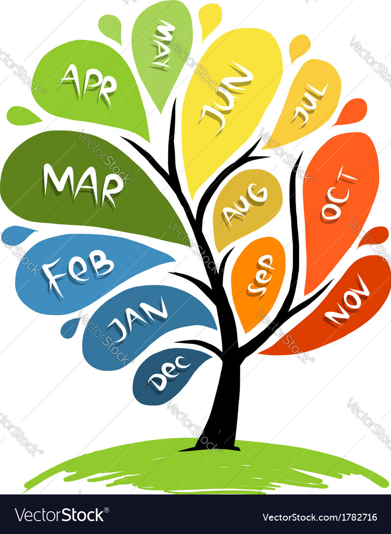 Art tree design with 12 petal months of year vector