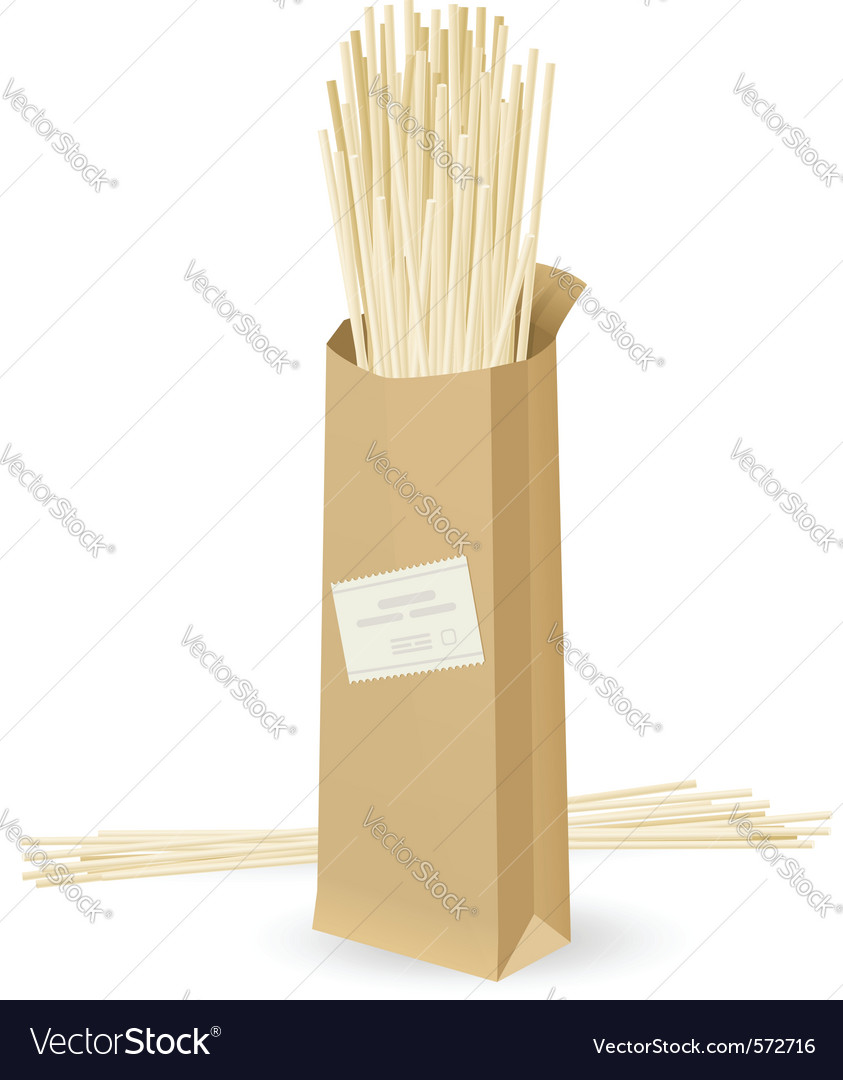 Realistic package spaghetti vector