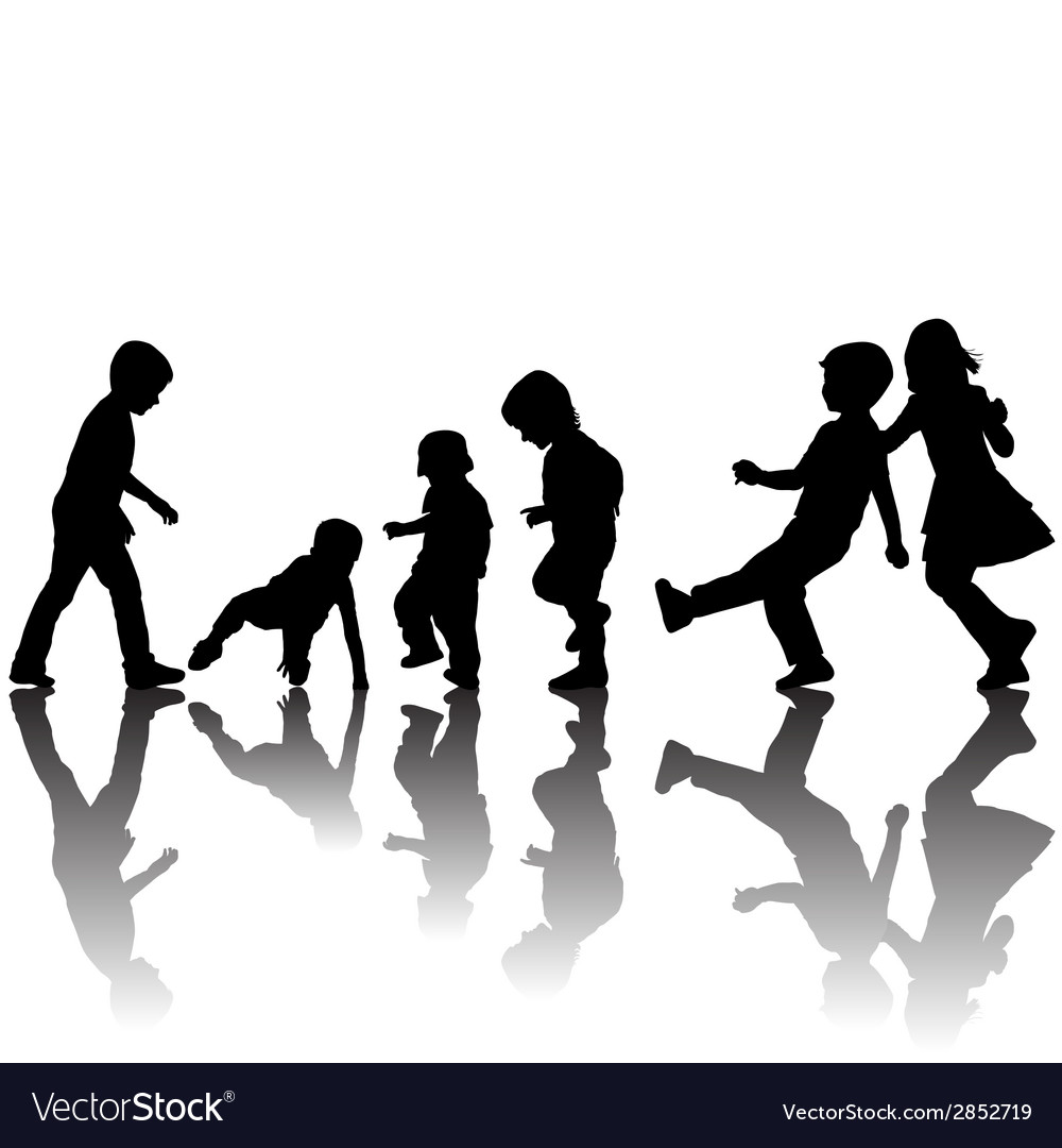 Black children silhouettes with shadows vector
