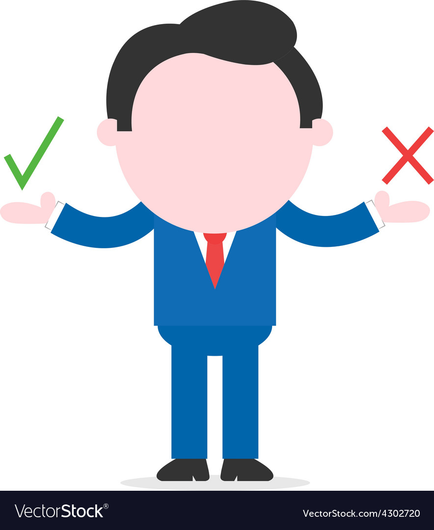 Businessman showing check and x mark vector