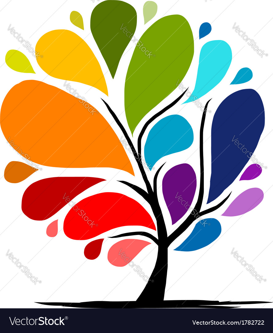 Abstract rainbow tree for your design vector