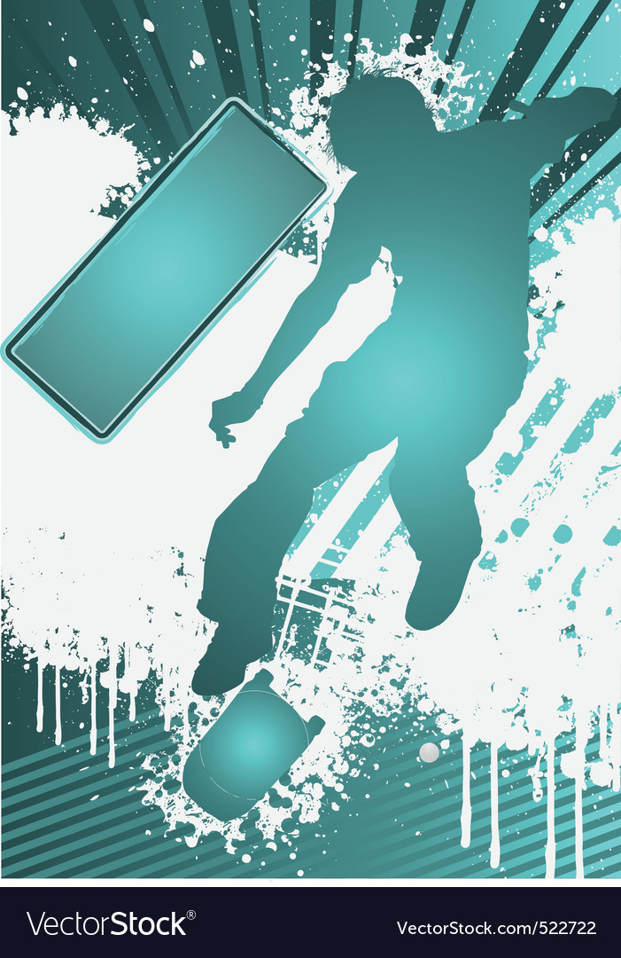 Grunge poster template with skateboarder vector