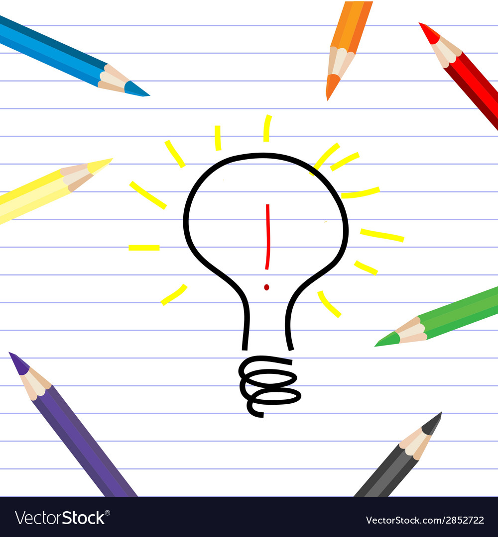 Stylized bulb sketching on a white sheet with vector