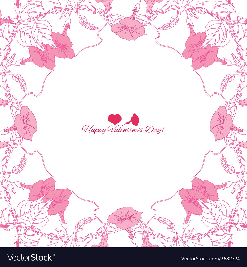 Background with pink bindweed-04 vector