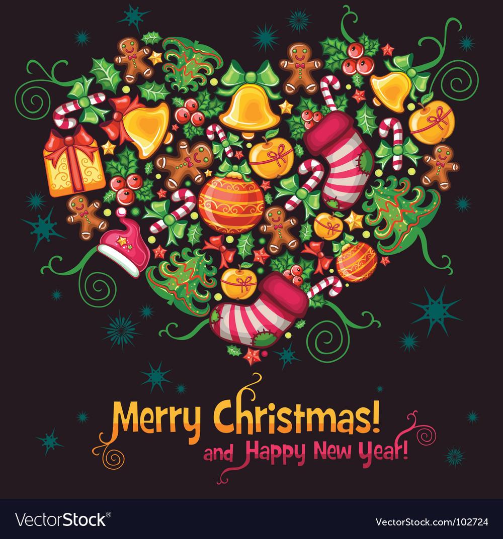 Christmas heart vector