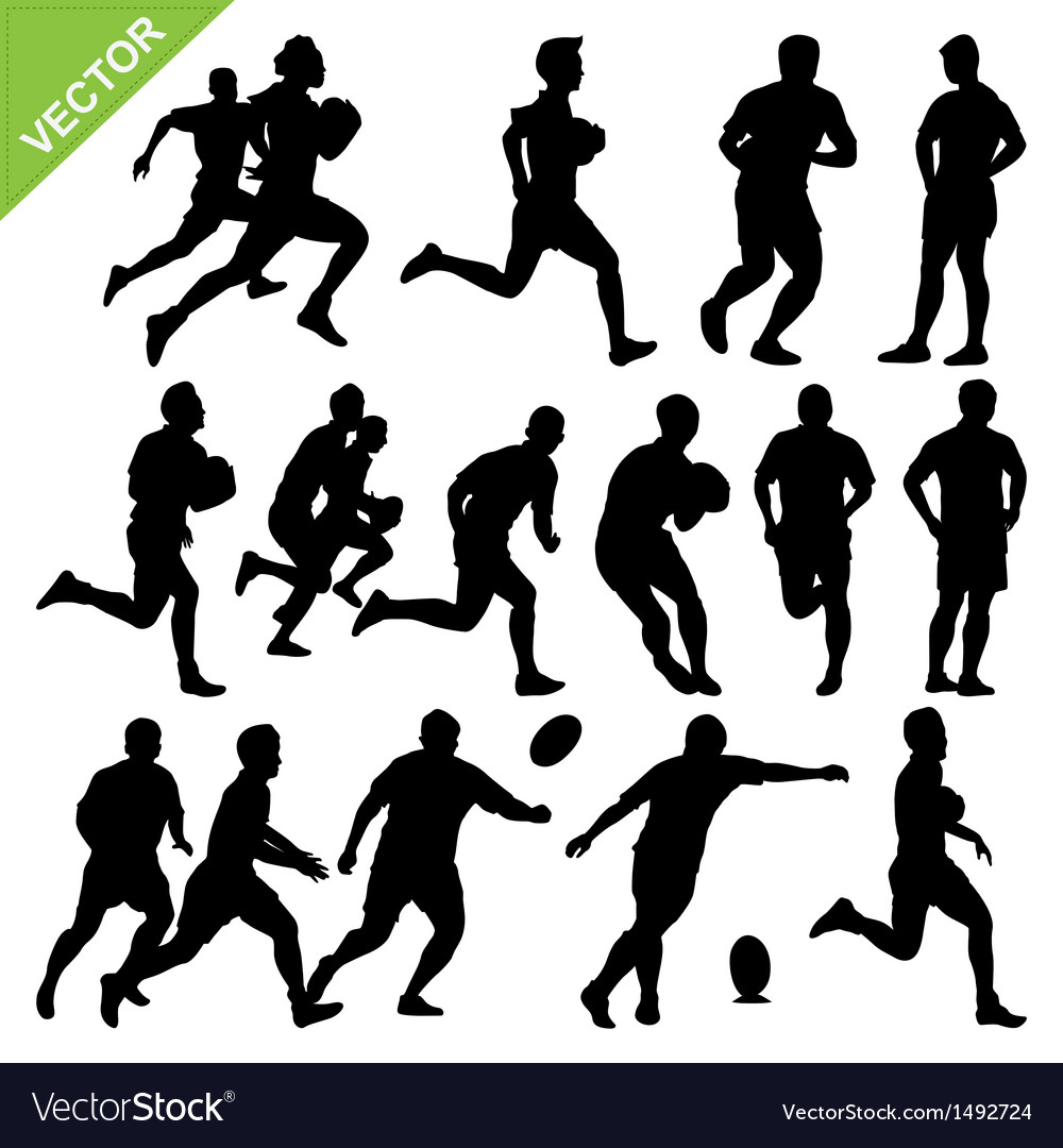 Rugby player silhouettes vector