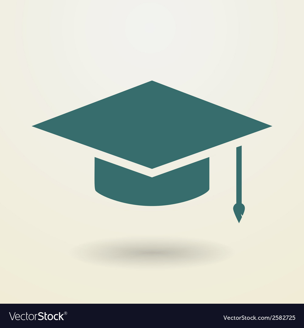 Simple graduation cap icon vector