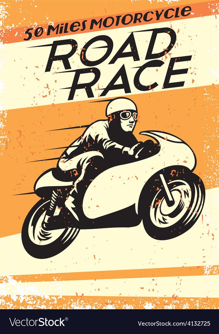 Vintage motorcycle racing poster vector
