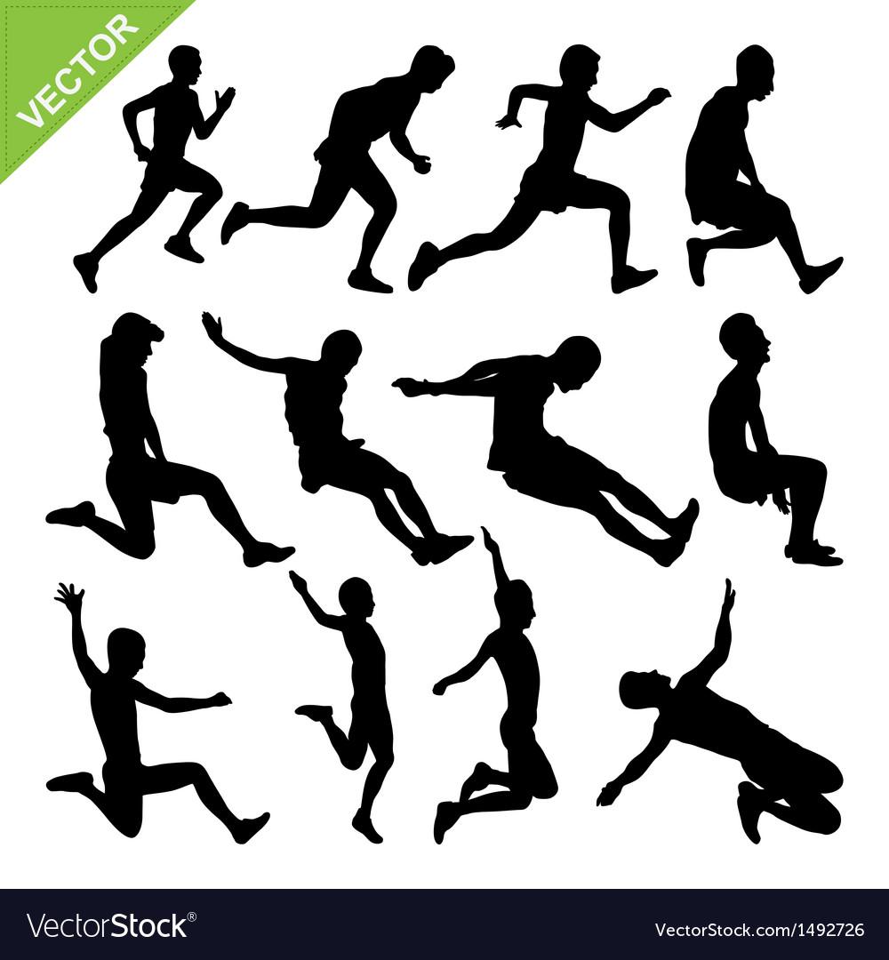 Long jump silhouettes vector