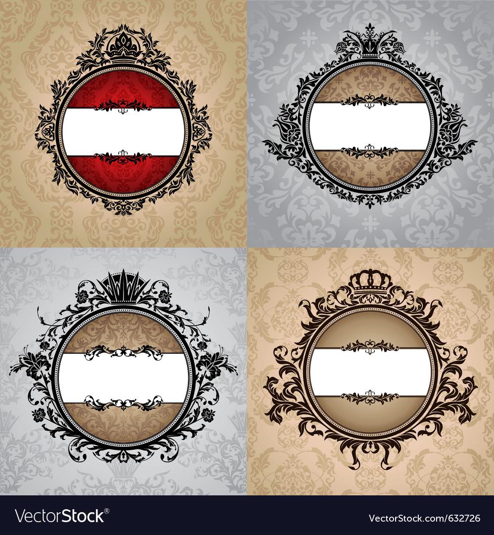 Set of abstract royal vintage frames vector