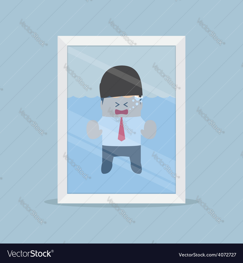 Businessman drowning in the water tank emergency vector