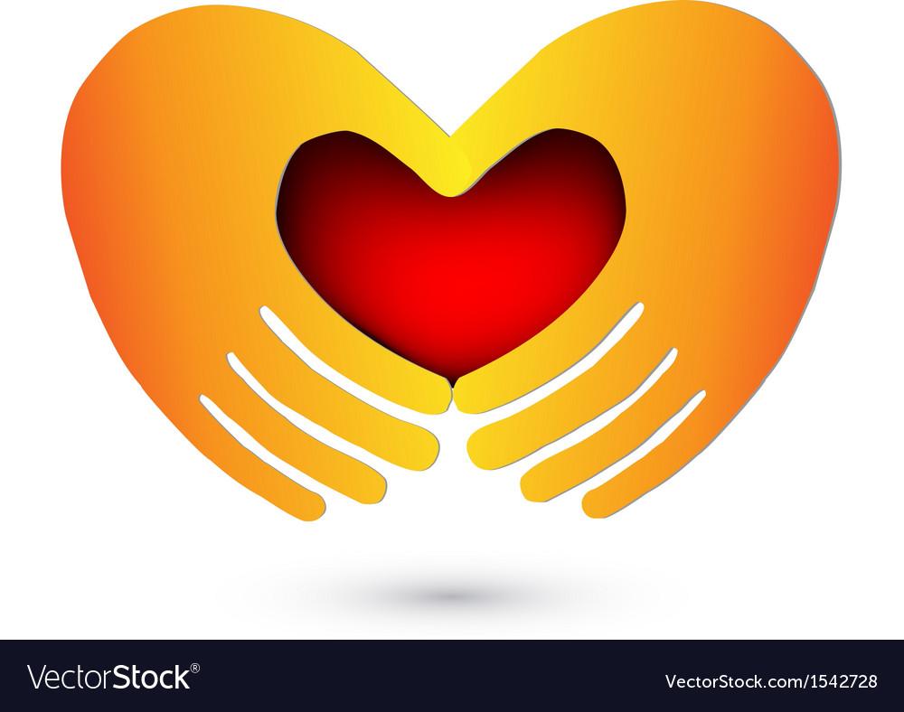 Hands and heart logo vector