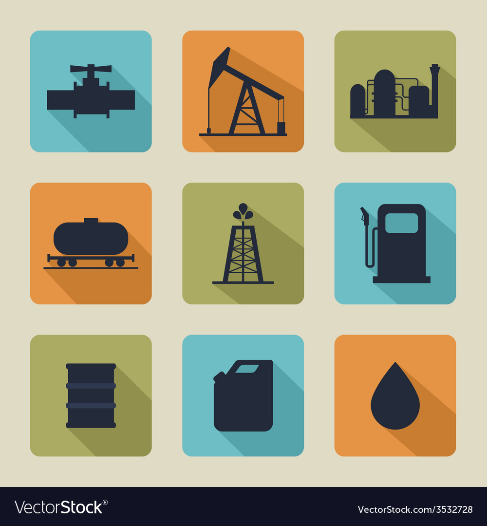 Set of icons with oil vector
