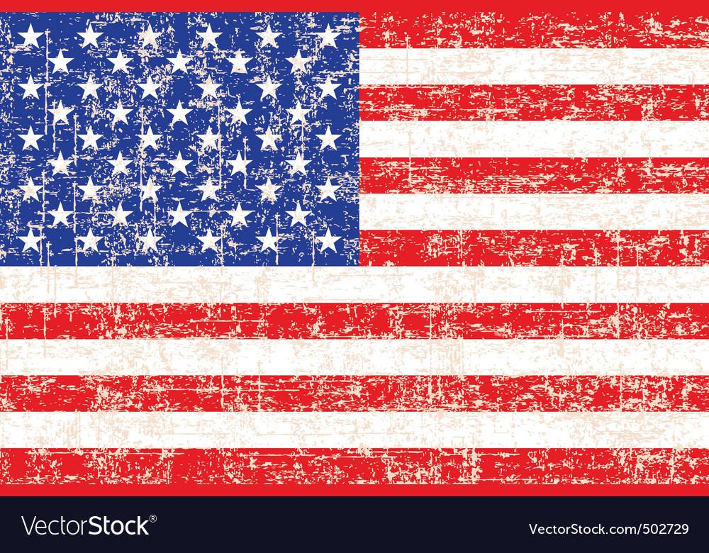 Grunge american flag background vector