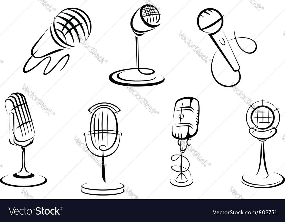 Retro microphones vector