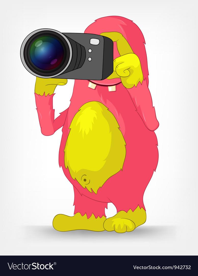 Funny monster photographer vector