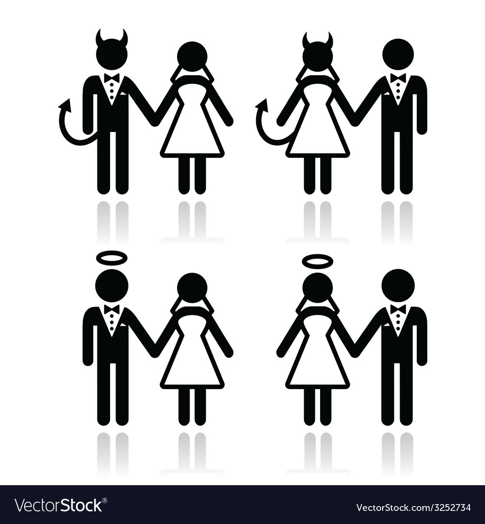 Wedding couple - devil and angel bride and groom vector