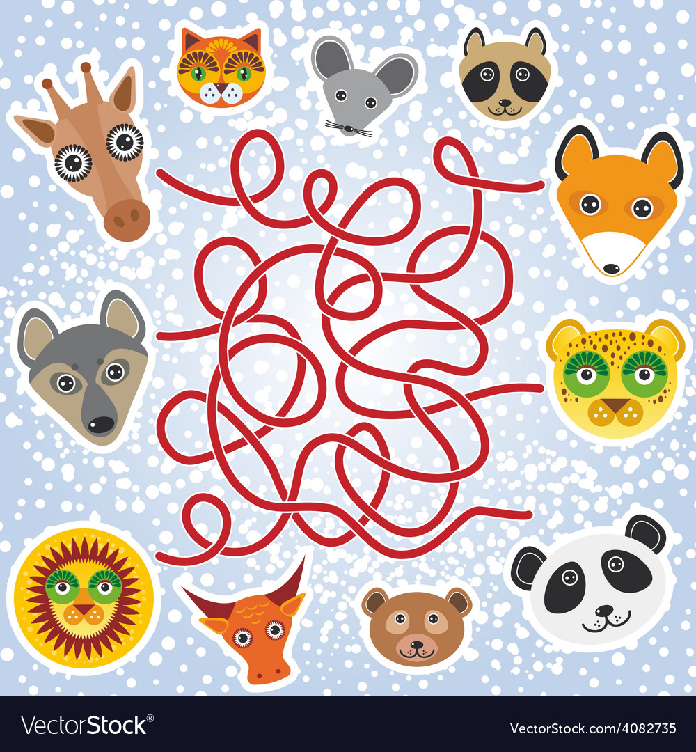 Funny animals - labyrinth game for preschool vector