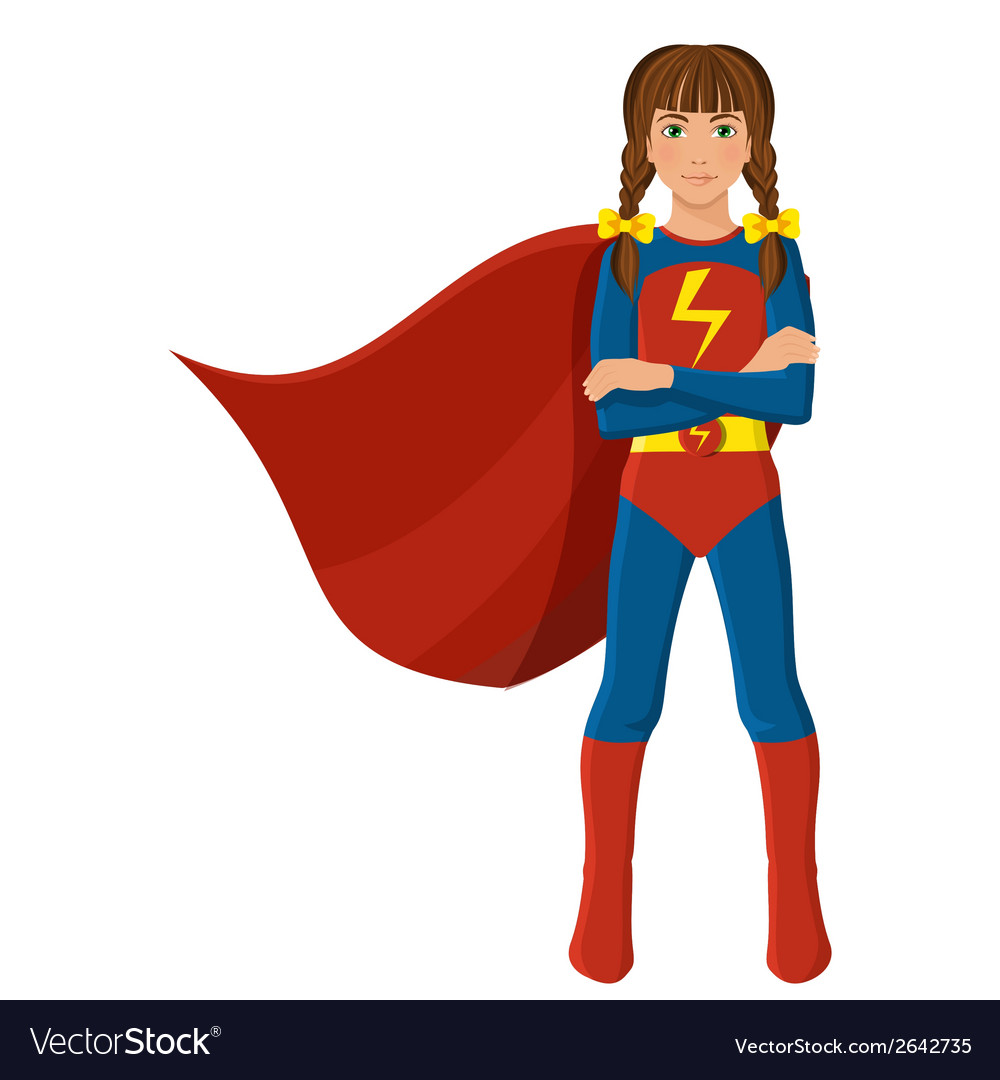 Girl in superhero costume vector