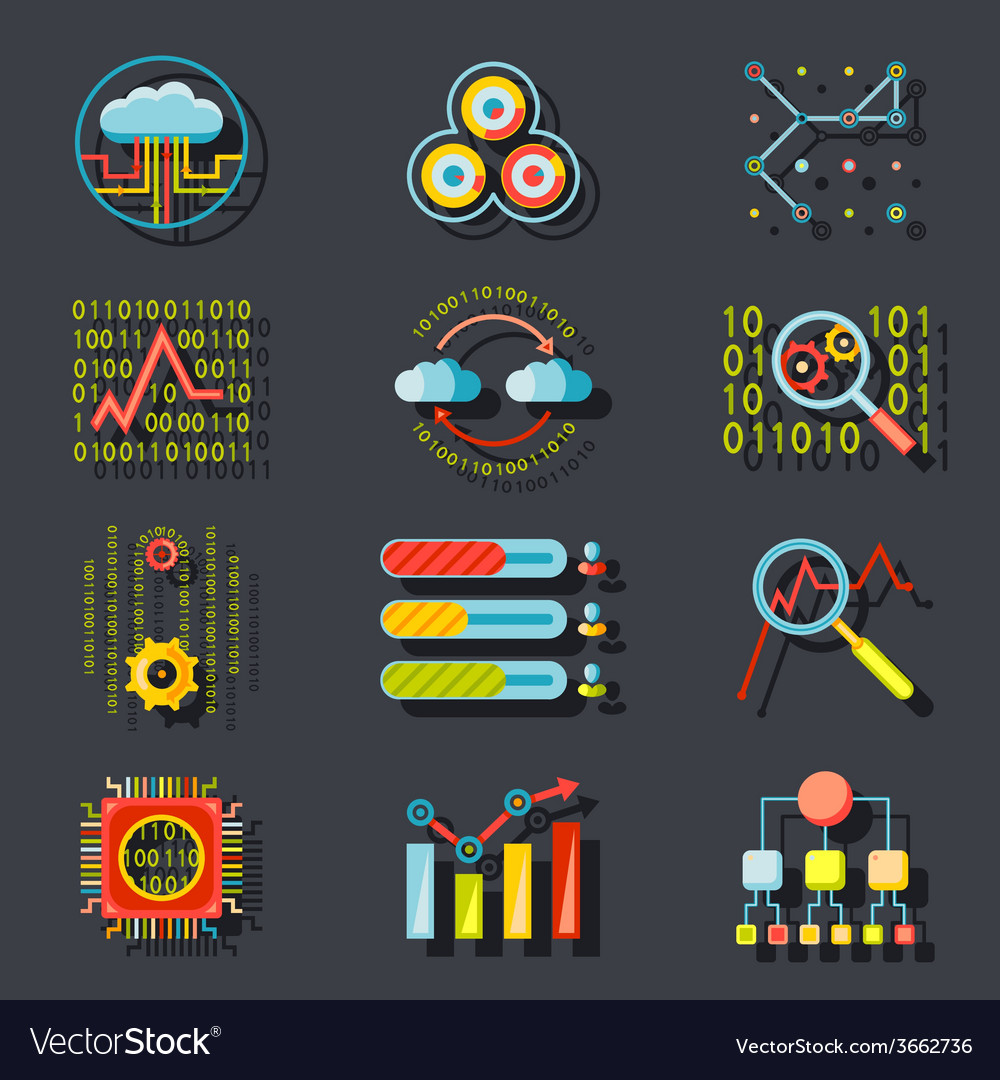 Data analytic web site server icons on stylish vector
