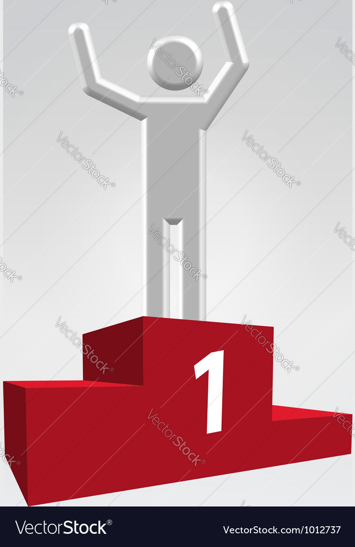 Winner on pedestal vector