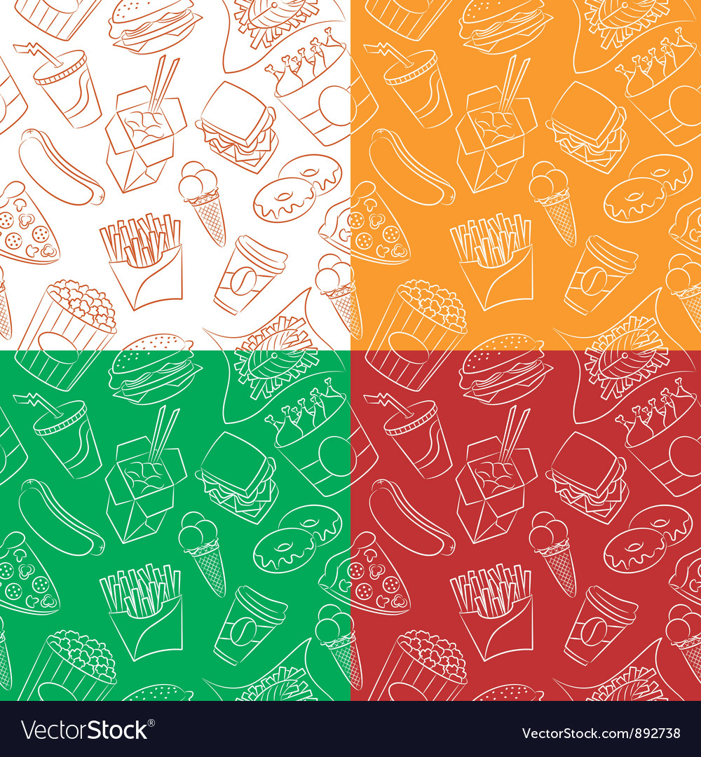 Different seamless with fast food vector