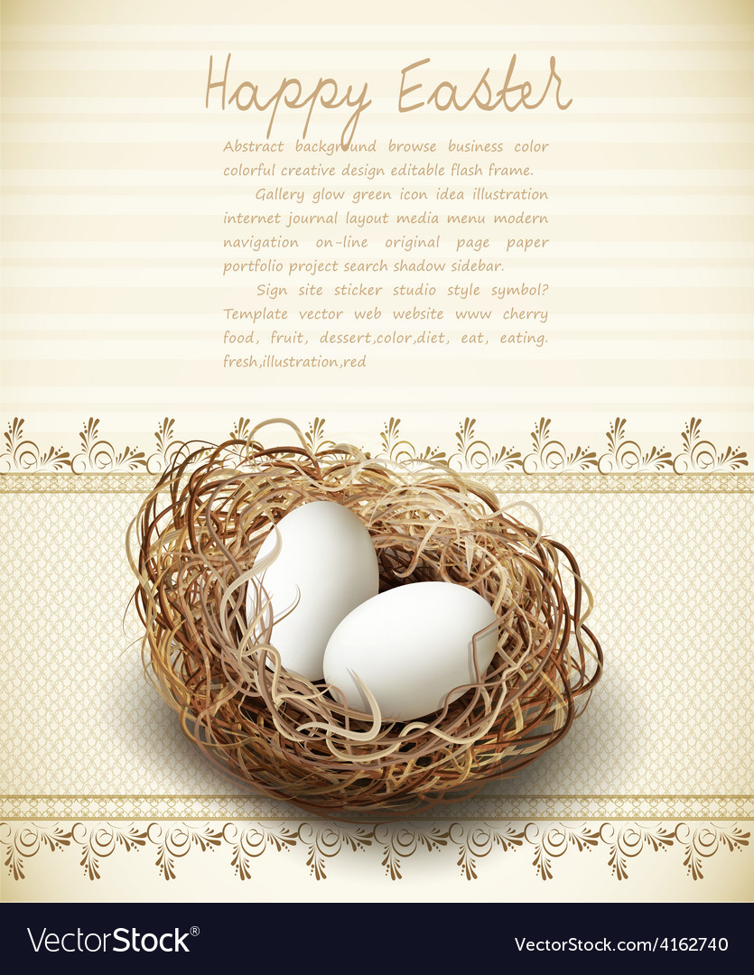 Easter vintage background with a nest and eggs vector