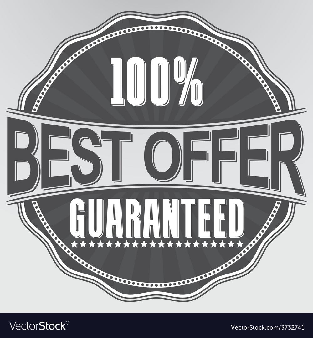 Best offer guaranteed retro label vector