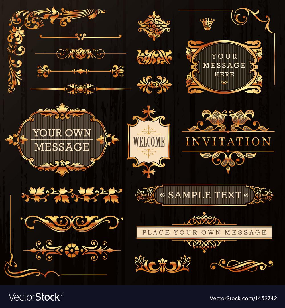 Golden-calligraphic-design-elements-vector