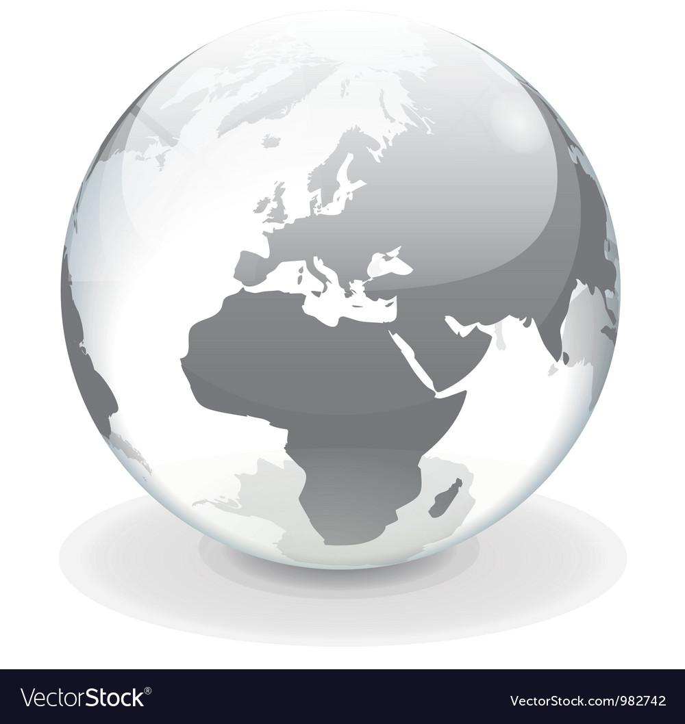 Transparent globe of europe vector