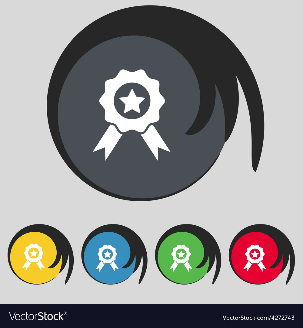 Award medal of honor icon sign symbol on five vector