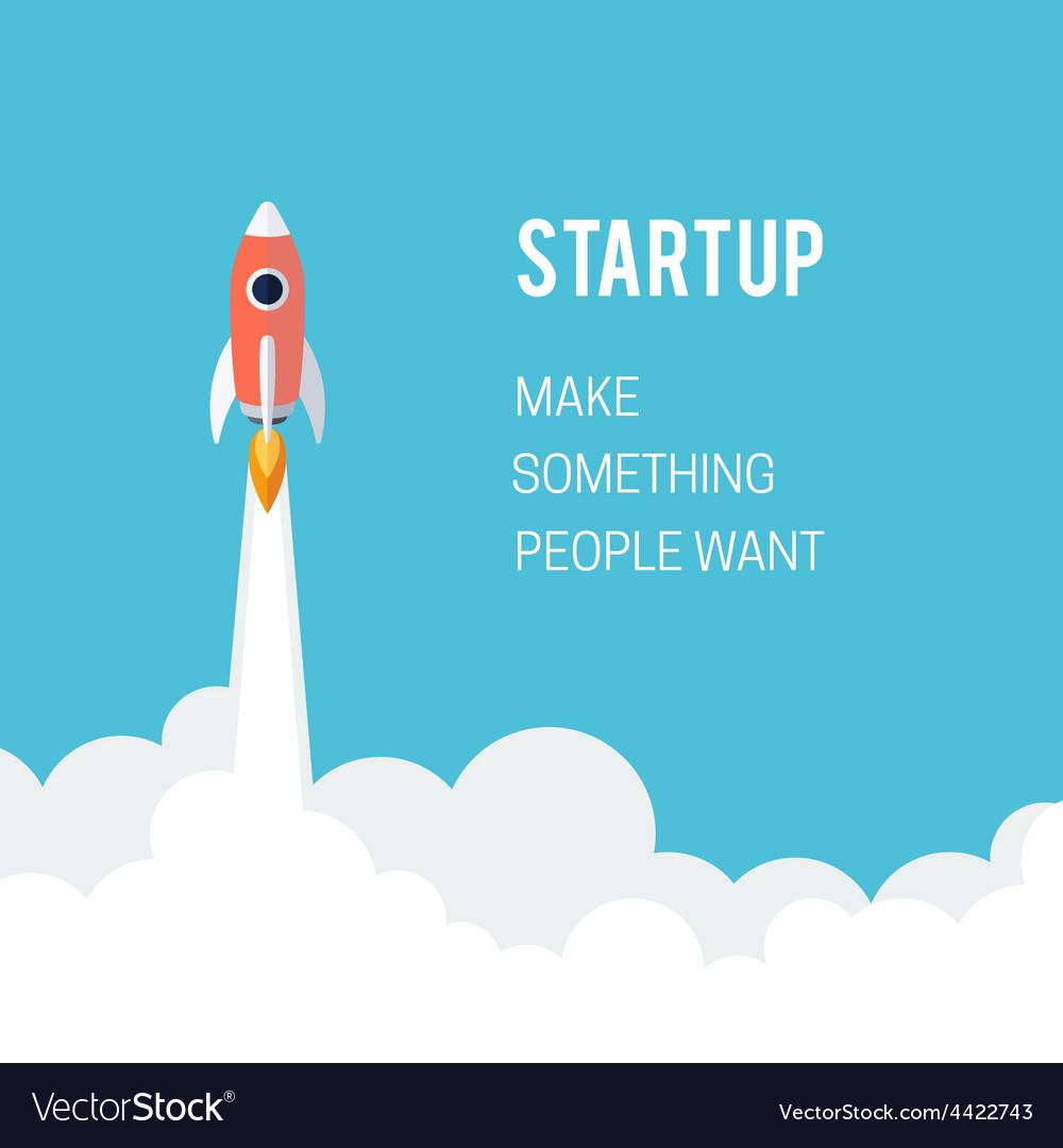 Flat designt business startup launch concept vector