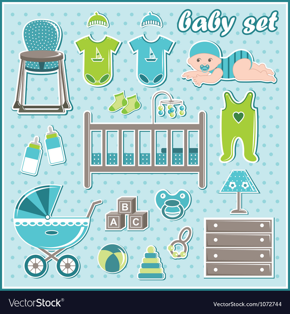 Set of baby boy icons vector