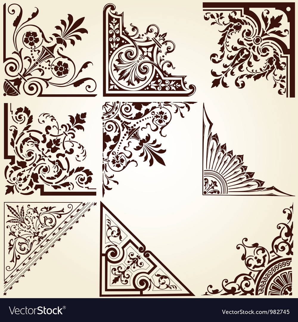 Decorative ornamental corners vector