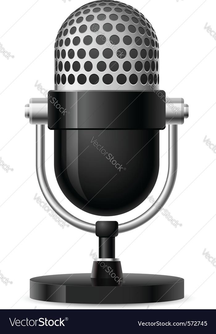 Realistic retro microphone vector