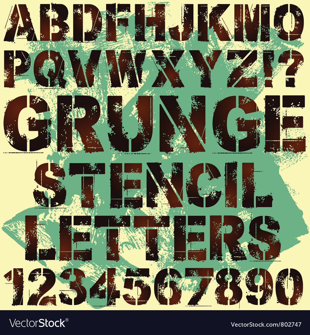 Grunge stencil letters vector