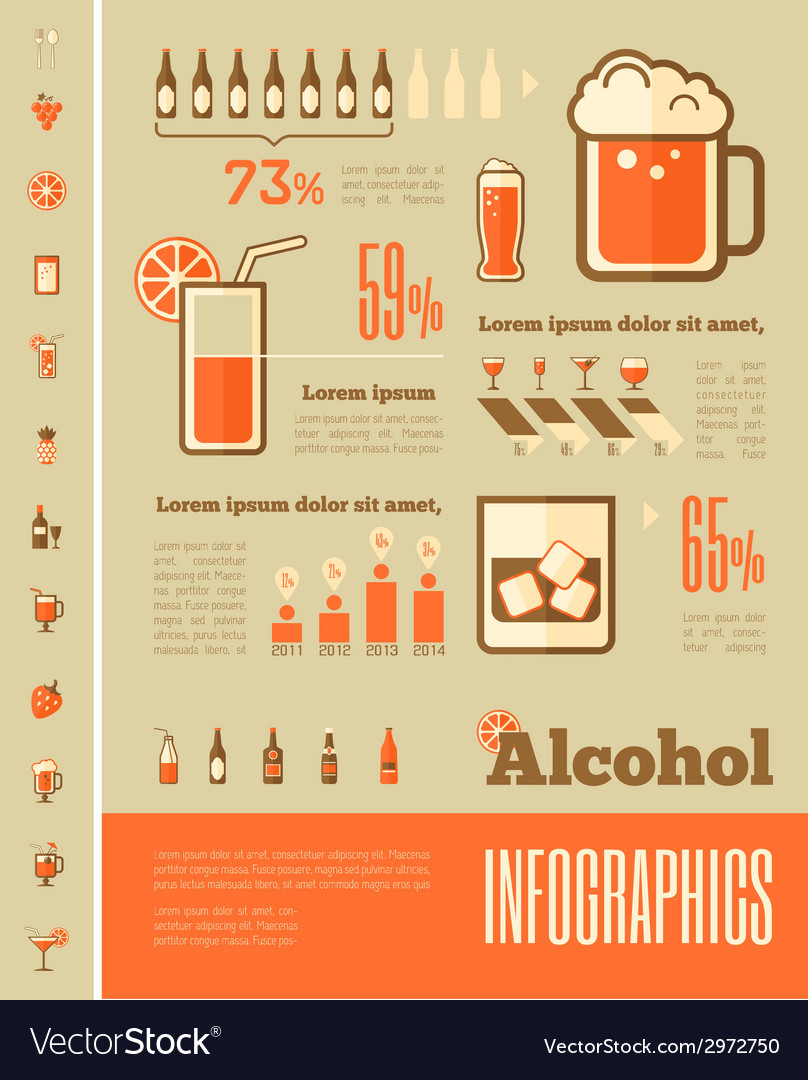 Alcohol infographic template vector