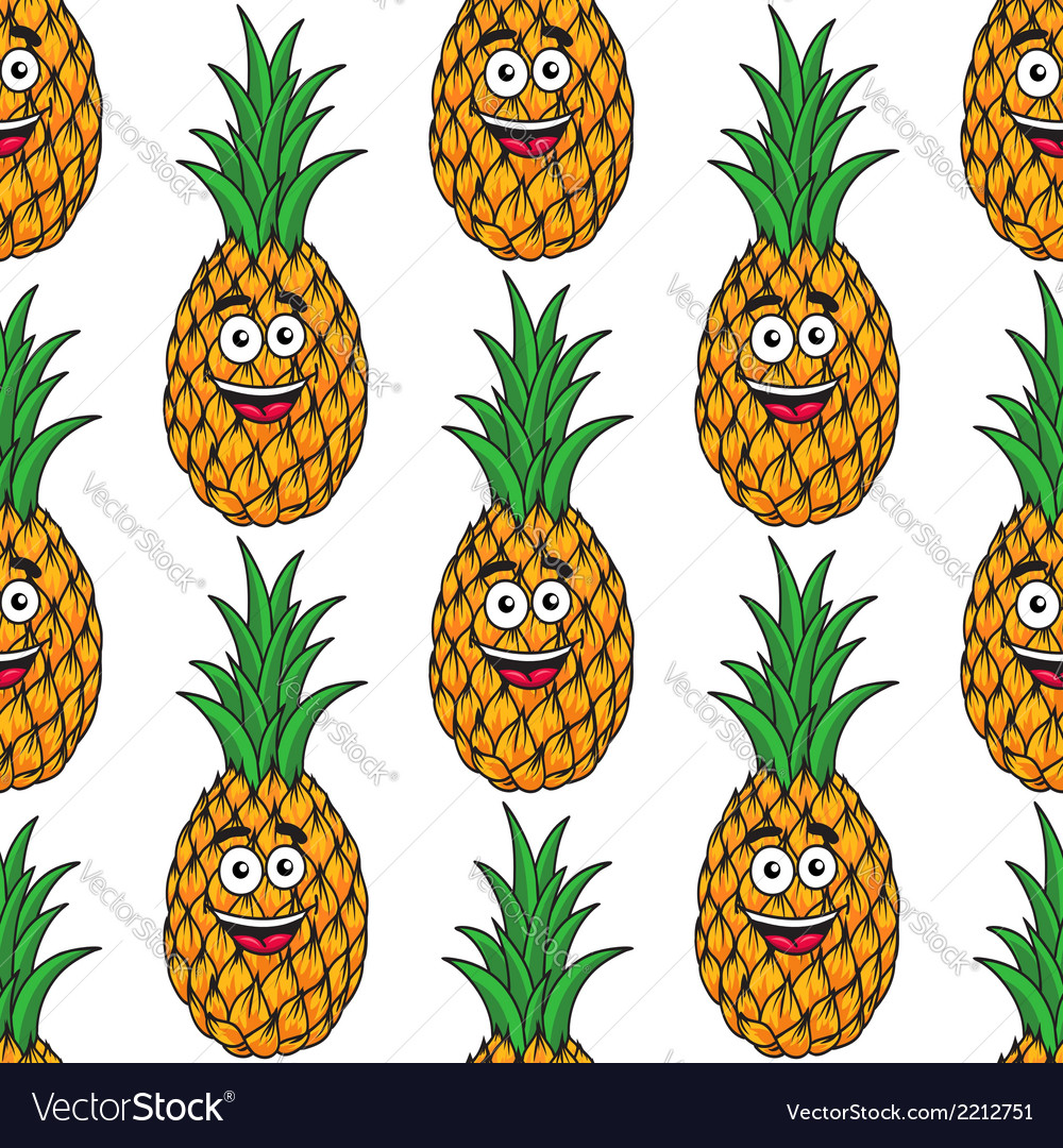 Happy tropical pineapple seamless pattern vector