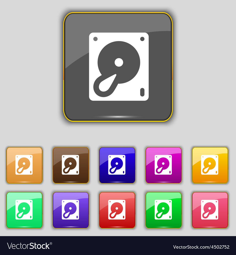 Hard disk and database icon sign set with eleven vector