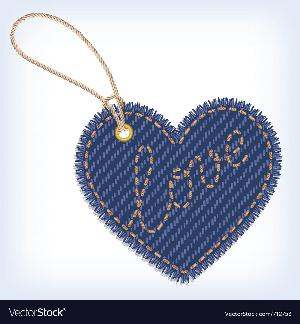 Jeans heart valentine label vector