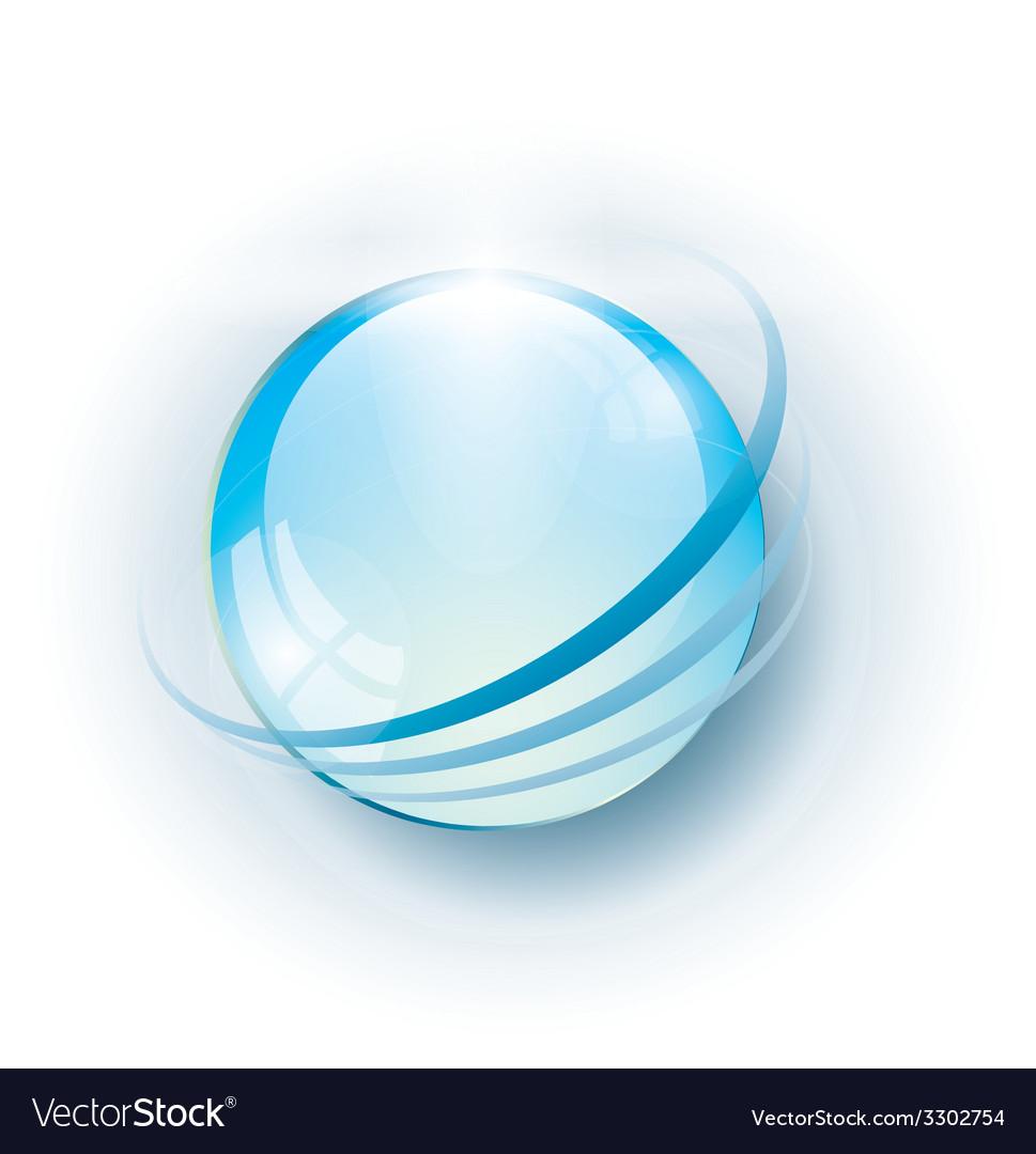 Blue glossy abstract globe vector