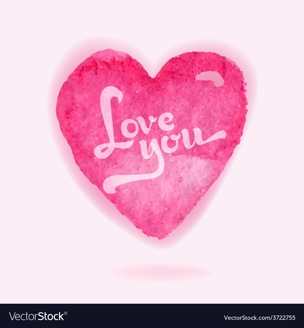 Valentines day card - with watercolor heart vector