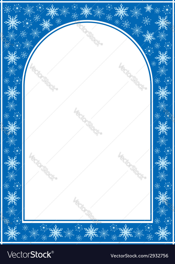 Blue christmas arcuate frame with white center vector