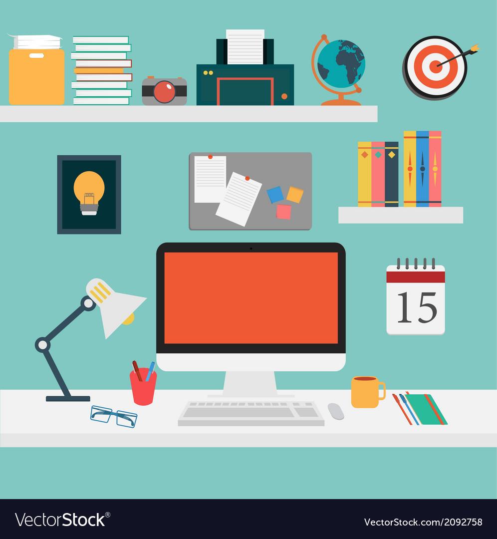 Office set for work computersmart vector