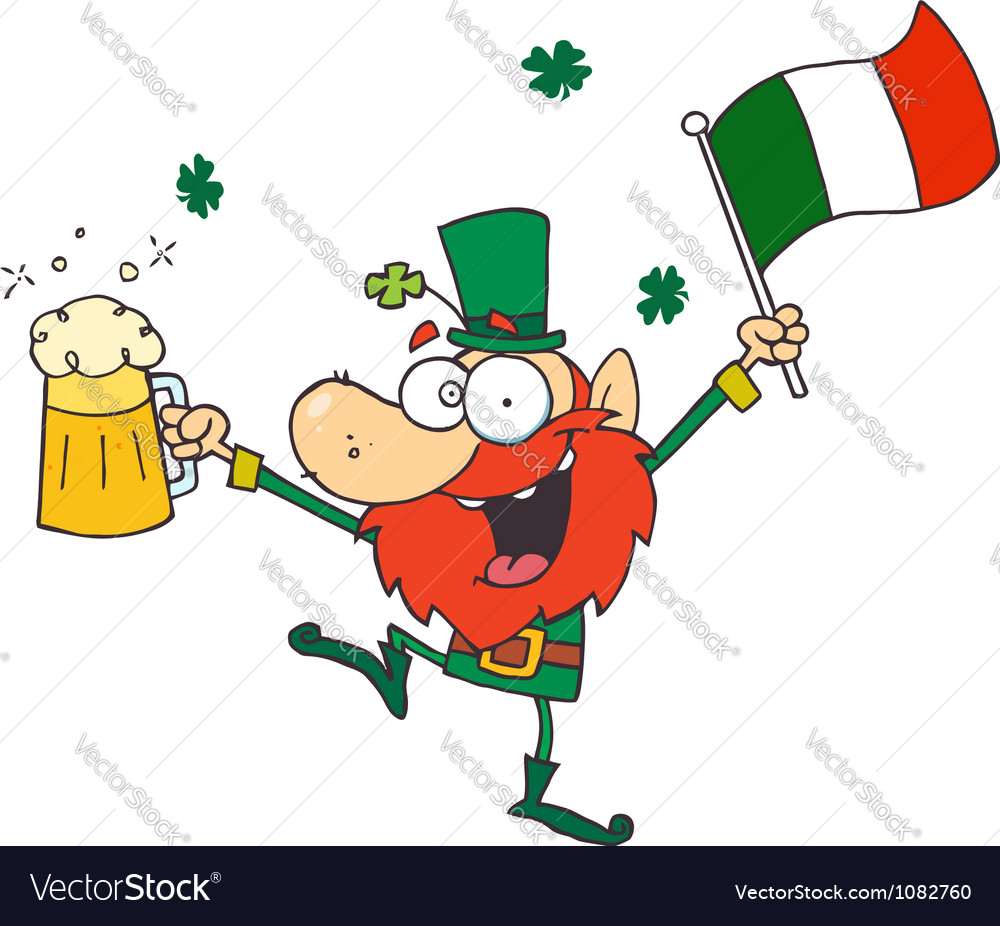 Drunk leprechuan vector